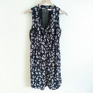 Rebecca Taylor Silk Navy Blue Leopard Print Dress
